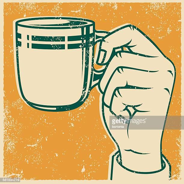 Una taza de café Retro impresión de pantalla