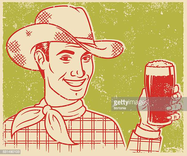 Retro Screen Print Cowboy with Beer
