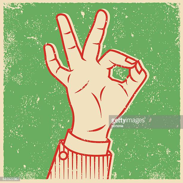 retro screen print hand giving the ok sign - ok sign stock illustrations