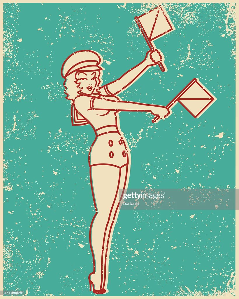 Retro Screen Print Line Art Illustration Sempahore Pin Up Girl