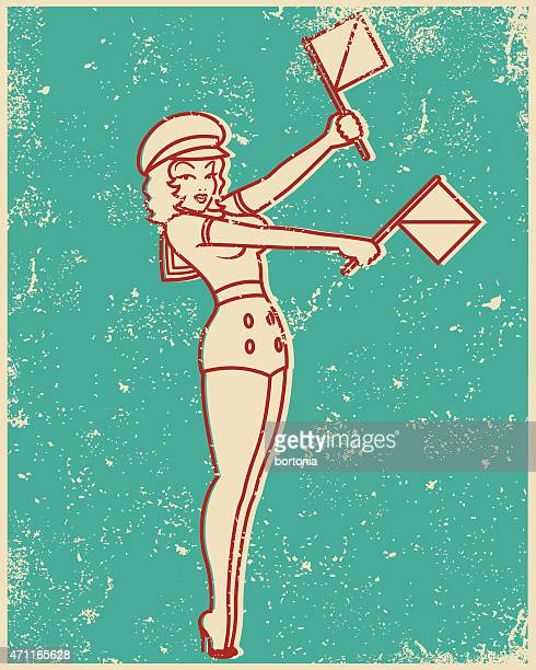 retro screen print line art illustration sempahore pin up girl - silk screen stock illustrations, clip art, cartoons, & icons