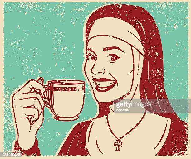 Retro Screen Print Nun Drinking Tea