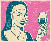Retro Screen Print Nun Drinking Wine