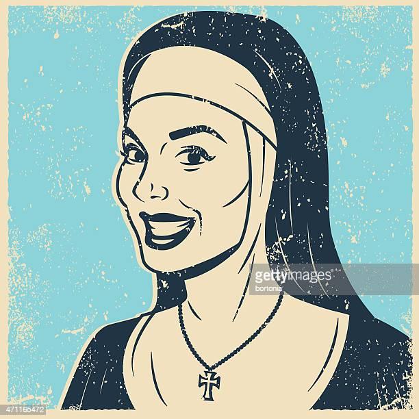 Retro Screen Print Nun Line Art Illustration