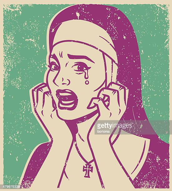 retro screen print of a crying nun - silk screen stock illustrations