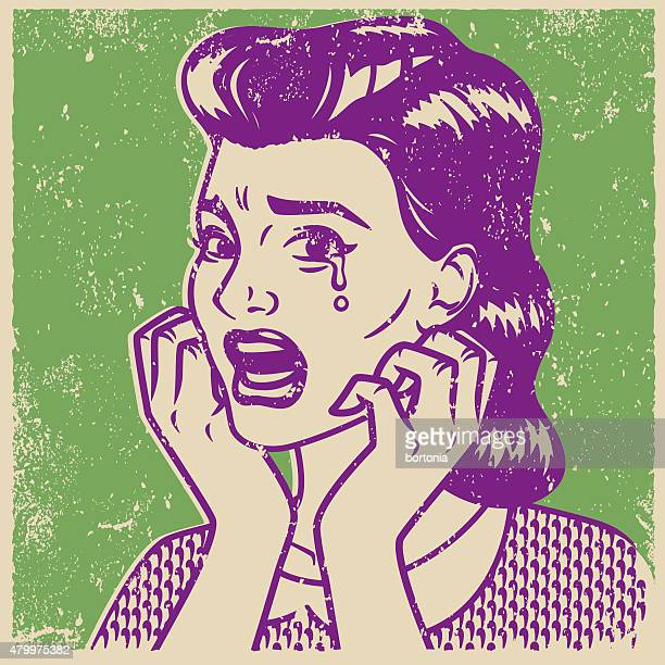 retro screen print of a crying woman - silk screen stock illustrations, clip art, cartoons, & icons