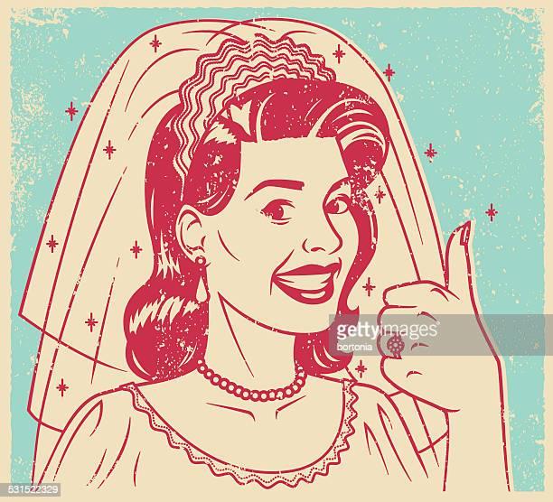 Retro Screen Print of a Smiling Bride