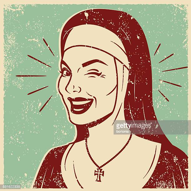 Retro Screen Print of a Smiling Nun