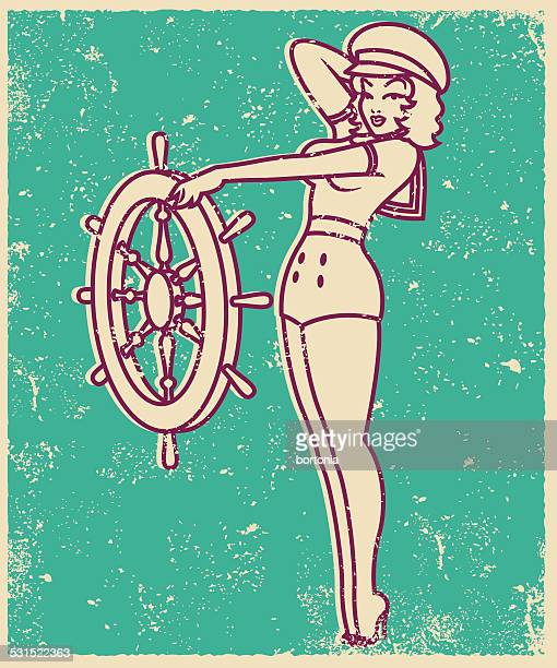 Retro Screen Print of a Tattoo Style Sailor Pinup