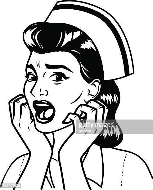 Retro Screen Print of a Terrified Nurse