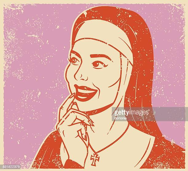 Retro Screen Print of a Thoughtful Nun