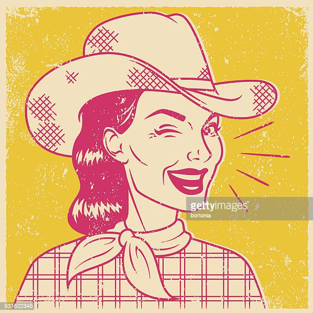 Retro Screen Print of a Winking Cowgirl