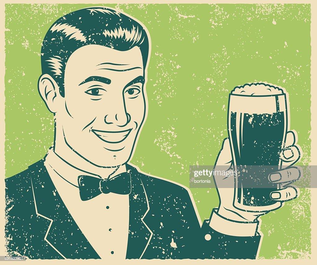 Retro Screen Print of Man Holding Beer : stock illustration