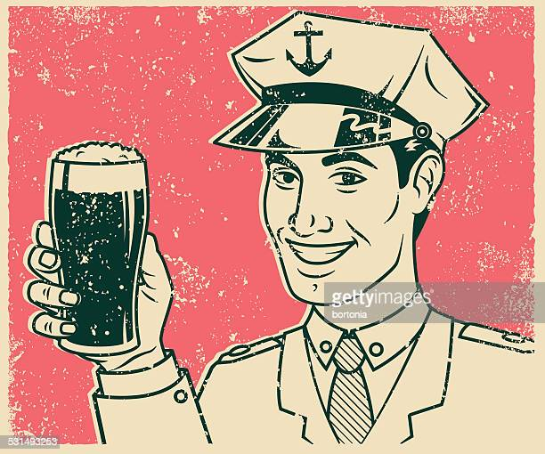 retro screen print of sailor with beer - boat captain stock illustrations, clip art, cartoons, & icons