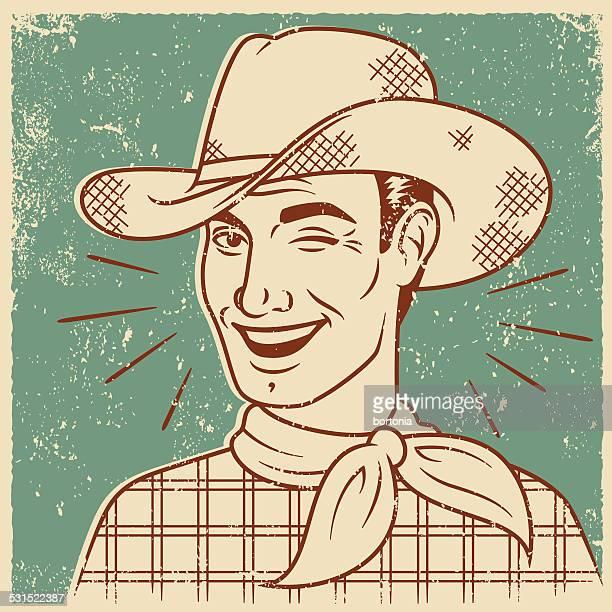 retro screen print of smiling cowboy - cowboy stock illustrations, clip art, cartoons, & icons
