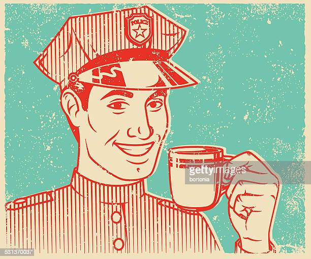 Retro Screen Print Policeman Drinking Coffee
