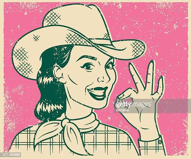 illustrations, cliparts, dessins animés et icônes de imprimé rétro souriant cow-girl ligne art illustration - cowgirl