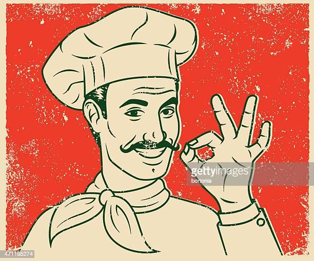 ilustrações, clipart, desenhos animados e ícones de retro impressão de tela de linha chef sorridente bonito arte ilustração - chef de cozinha