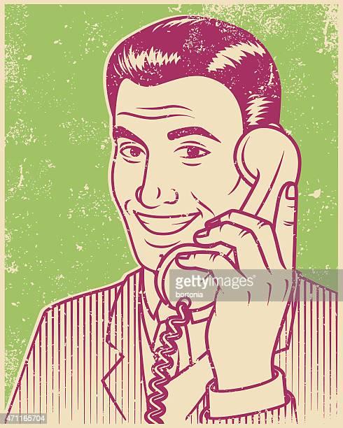 Retro-Siebdruck lächelnd gut aussehender Mann Line Art Illustration