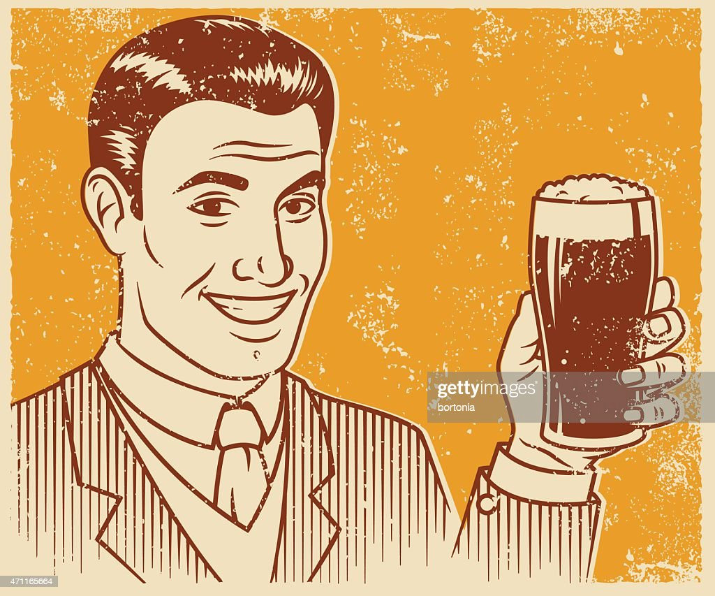 Retro Screen Print Smiling Handsome Man With Beer : stock illustration
