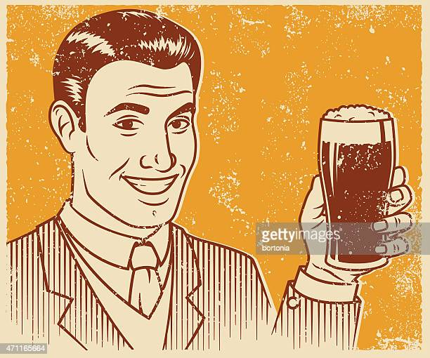 retro screen print smiling handsome man with beer - beer glass stock illustrations, clip art, cartoons, & icons