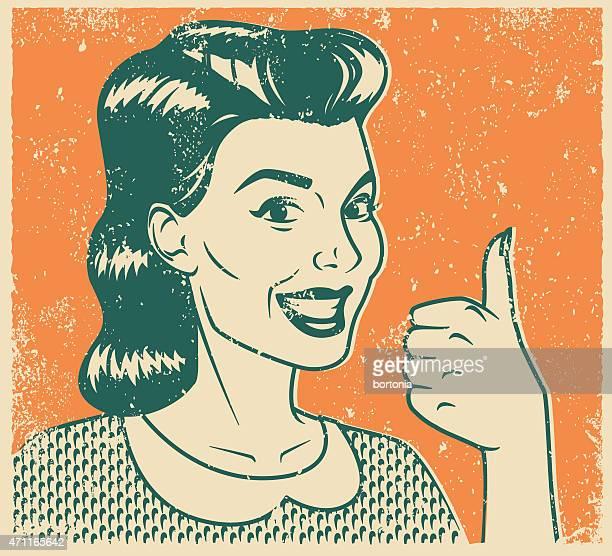 Retro Screen Print Smiling Woman Line Art Illustration