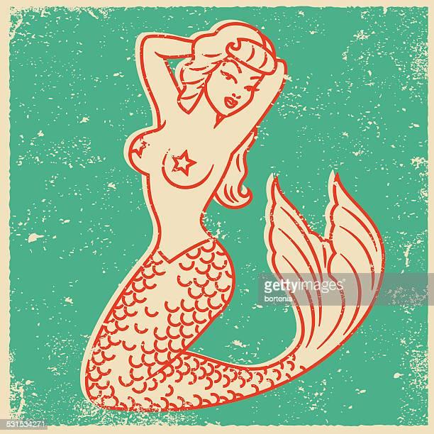 Tatuaje estilo Retro impresión de pantalla de sirena