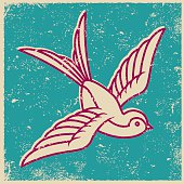 Retro Screen Print Tattoo Style Swallow