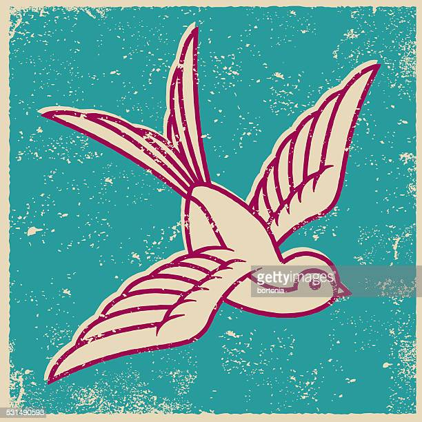 retro screen print tattoo style swallow - silk screen stock illustrations