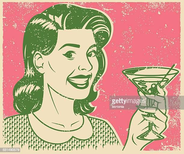 ilustraciones, imágenes clip art, dibujos animados e iconos de stock de pantalla de impresión de mujer retro bebiendo un martini - cóctel bebida alcohólica