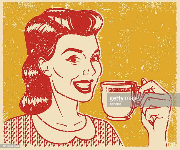 stockillustraties, clipart, cartoons en iconen met retro screen print woman drinking coffee - thee warme drank