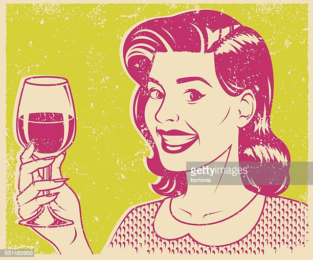 retro screen print woman drinking wine - red wine stock illustrations, clip art, cartoons, & icons
