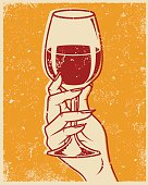 Retro Screen Printed Hand and Wine Glass