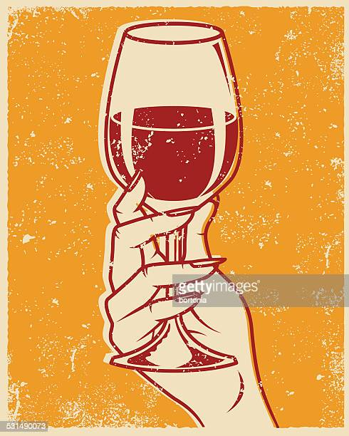 retro screen printed hand and wine glass - silk screen stock illustrations