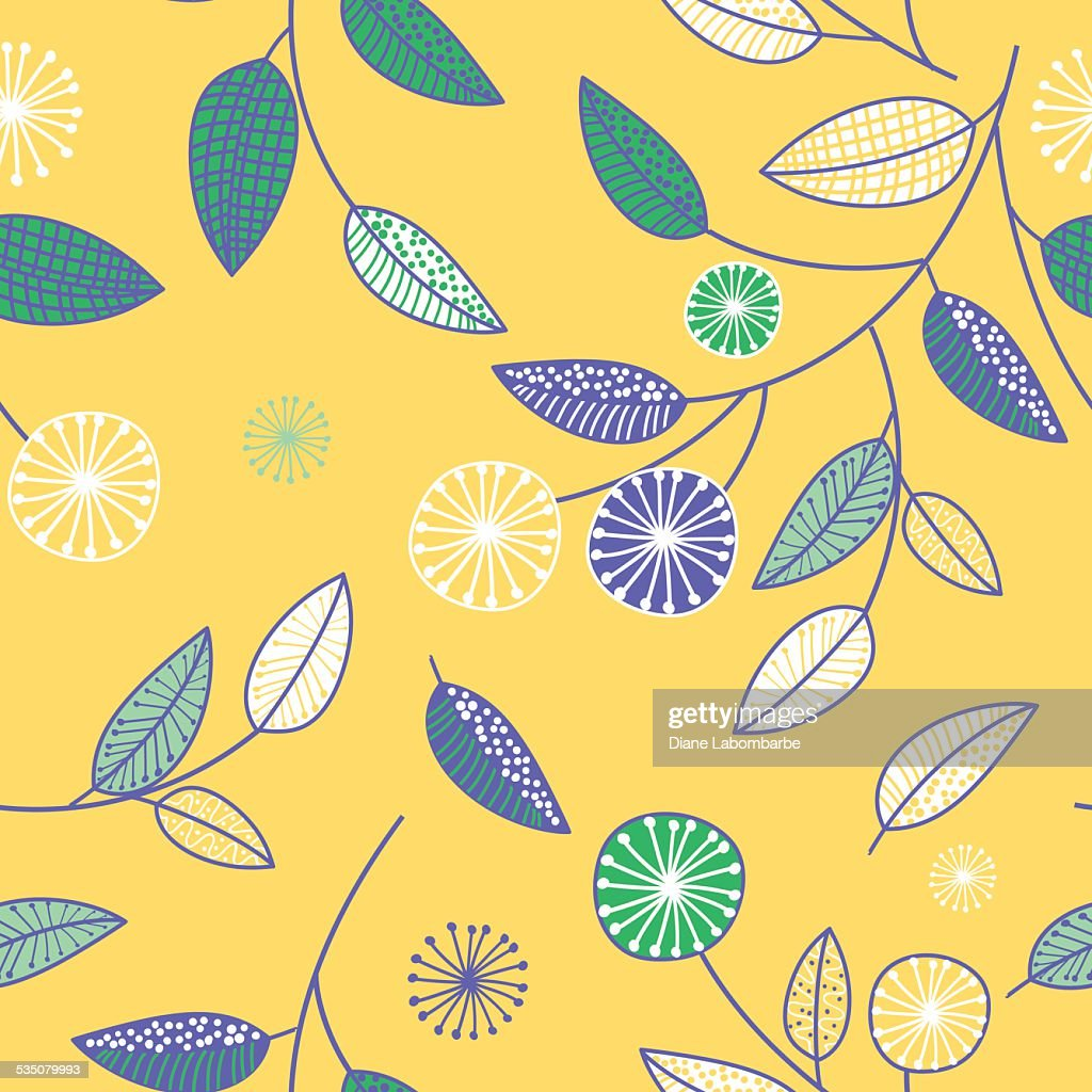 Retro Scribbled Floral Background Pattern On Yellow High Res