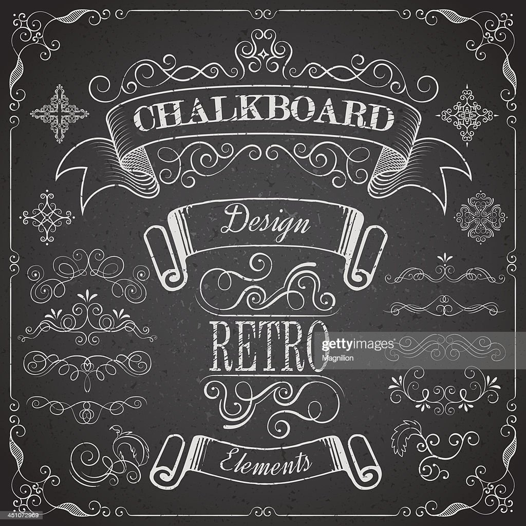 Retro scroll dividers and icons on chalkboard