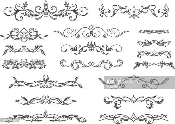 retro scroll dividers - paper scroll stock illustrations, clip art, cartoons, & icons