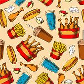 Retro seamless fast food chicken menu pattern