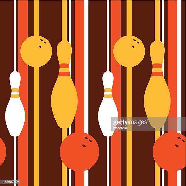 a retro seamless pattern with a bowling theme - bowling stock illustrations, clip art, cartoons, & icons