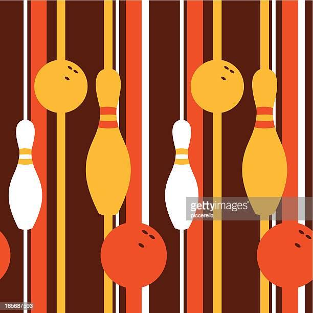 A retro seamless pattern with a bowling theme