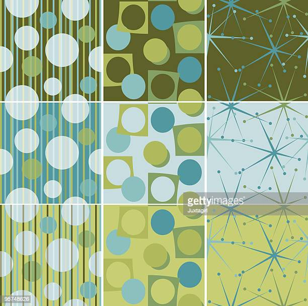 Retro padrões sem costura em azul marinho verde e brown