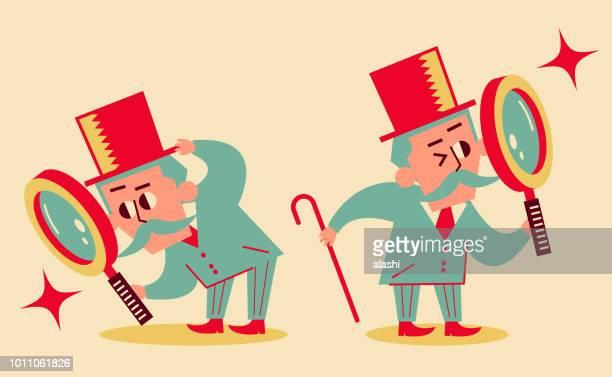 ilustraciones, imágenes clip art, dibujos animados e iconos de stock de hombre senior retro con lupa con 2 posiciones - bigote