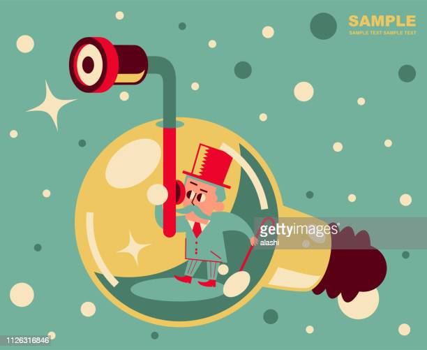 Retro senior man piloting a deep sea idea light bulb submarine and looking through a periscope