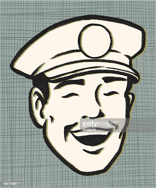 retro service guy - courier stock illustrations
