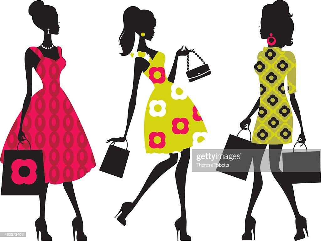 Retro Shopping Girls : stock illustration