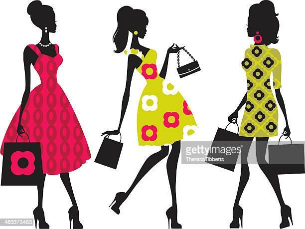 retro shopping girls - fashion stock illustrations