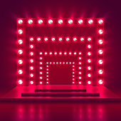 Retro show stage with light frame decoration. Game winner casino vector background