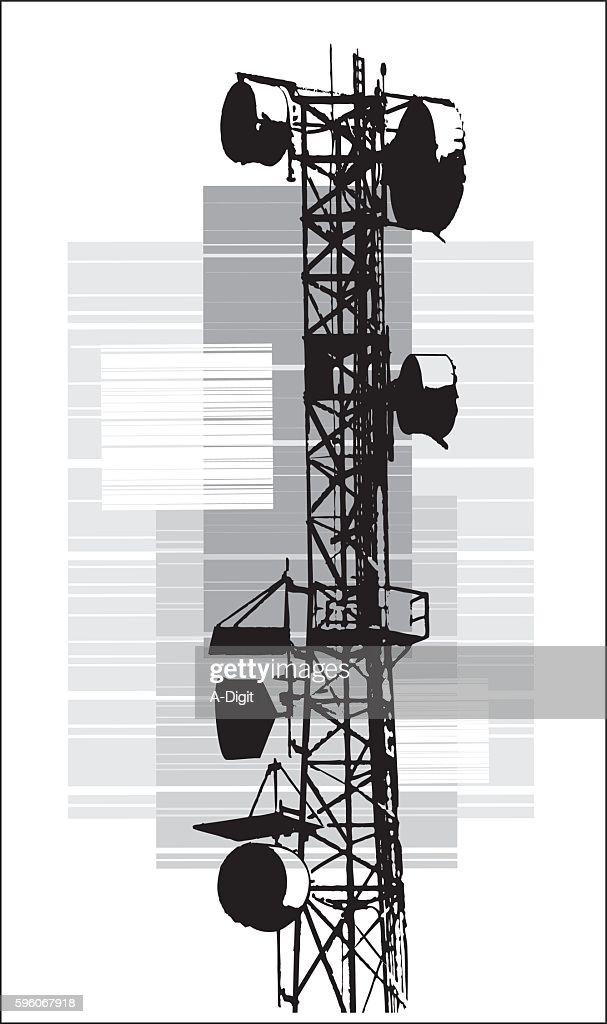 Retro Silhouette Of Radio Tower Stock Illustration - Getty