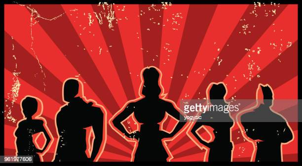 a retro silhouette superhero illustration with grunge effect - propaganda stock illustrations