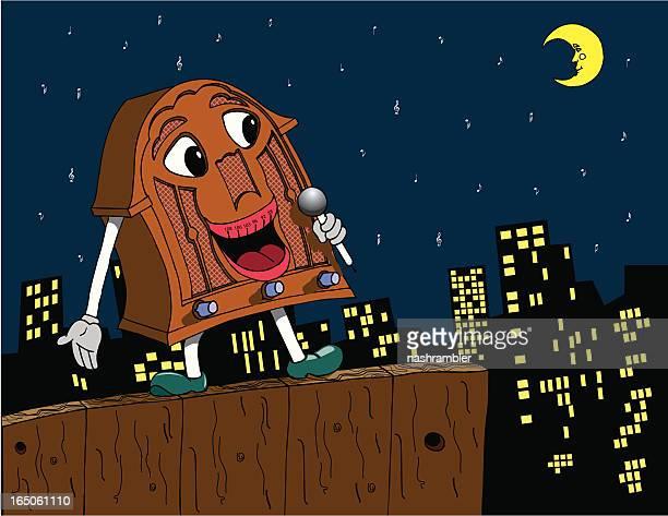 retro singing radio cartoon - man in the moon stock illustrations, clip art, cartoons, & icons